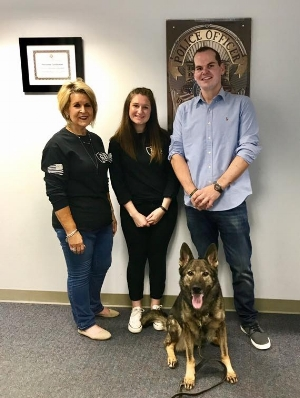 K9s of Valor Team Left to Right Toni, Courtney and Nate with University of Akron K9 Halo