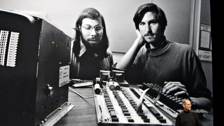Steve Wozniak with Steve Jobs and one of the first Apple computers. Photo: Bloomberg