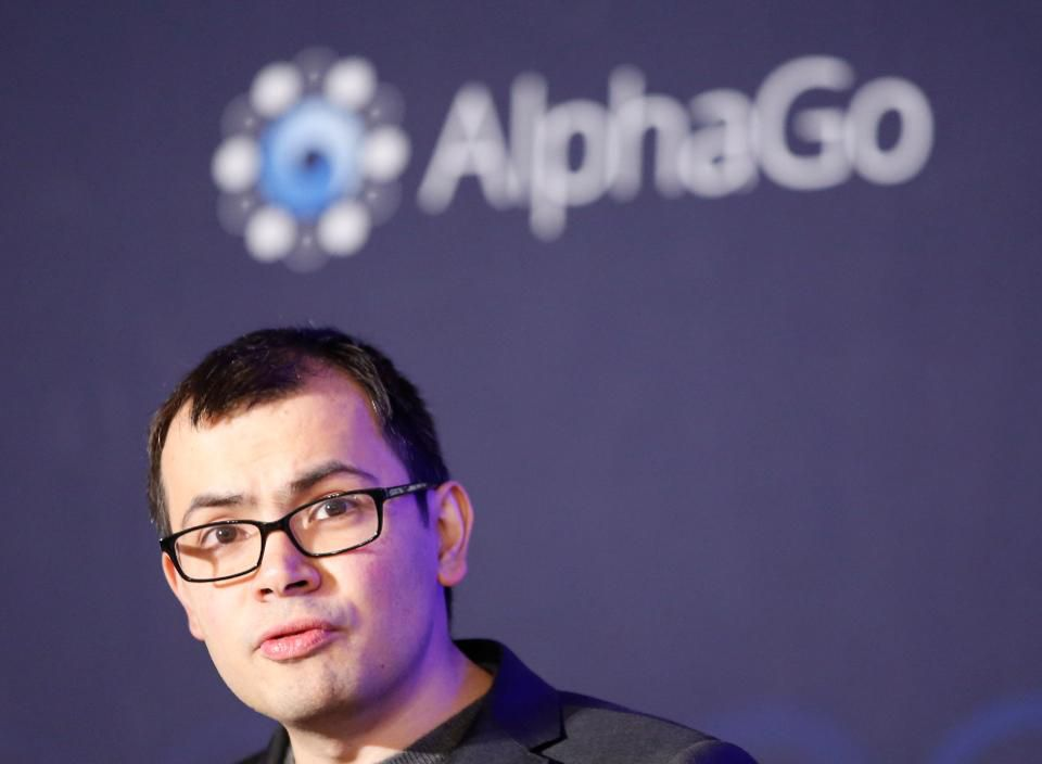CEO of Google DeepMind Demis Hassabis speaks during a press conference after finishing the third match of the Google DeepMind Challenge Match between South Korean professional Go player Lee Sedol and Google's artificial intelligence program, AlphaGo in March 2016 (AP Photo/Lee Jin-man)