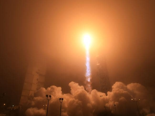 The NASA Insight spacecraft launches on May 5, 2018, from Vandenberg air force Base in California. Picture: AFP Source:AFP