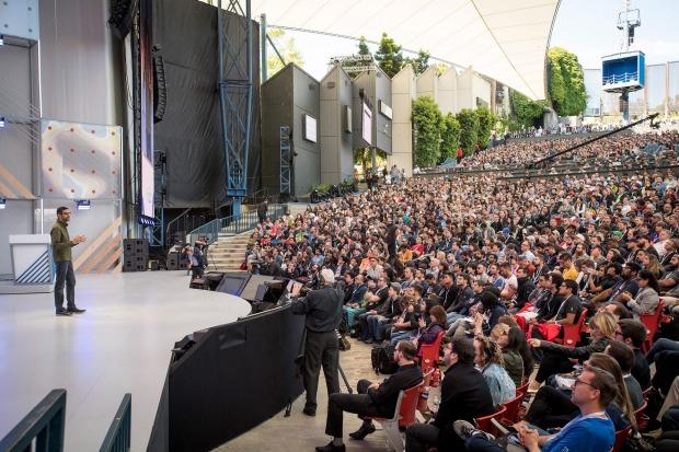 A huge crowd listens to Sundar Pichai, as he unveils the new Google Assistant.Michael Short