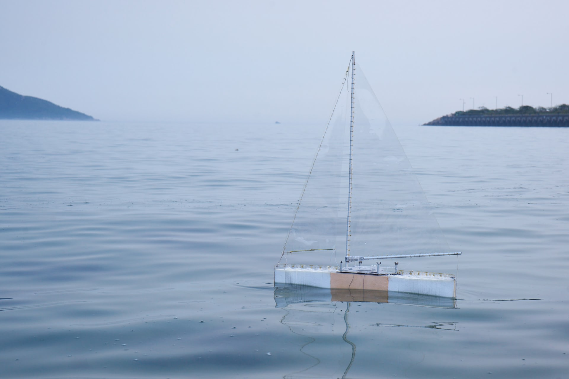 Protei, an autonomous sailing ship that cleans up oil spills, 2014. Photograph: © Scoutbots LTD, Cesar Jung-Harada