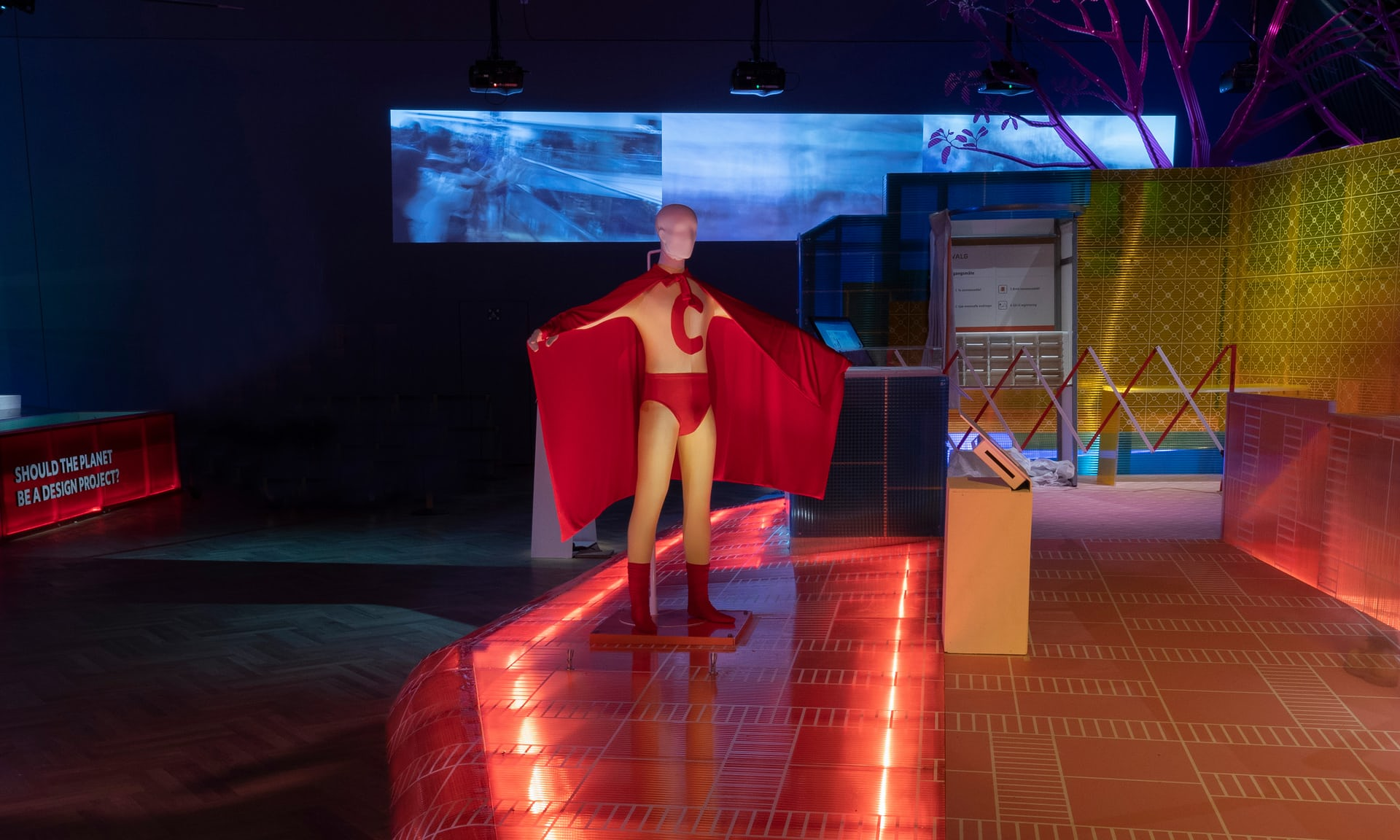 The Marvel-style 'super citizen' outfit worn by former mayor of Bogotá, Antanas Mockus. Photograph: Victoria and Albert Museum London