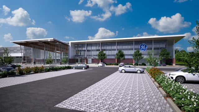 "Artist's conception of GE's ""brilliant"" factory, currently under construction in Welland, Ontario. (Image courtesy of GE.)"