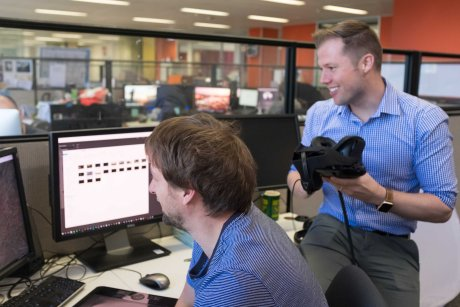 Producer and former Behind the News presenter Nathan Bazley has led the way in innovative storytelling using augmented reality and virtual reality.  (ABC News)