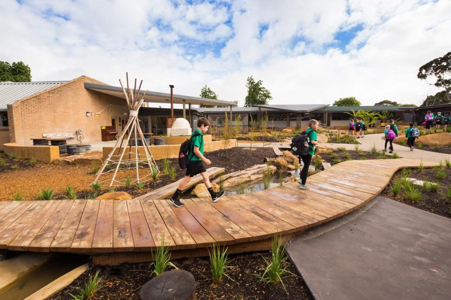 Outdoor learning environments are becoming increasingly important aspects of school design, like this space at Eastwood Primary School in Ringwood East, designed by Crosier Scott Architects with RB Landscapes. Picture: Casamento Photography