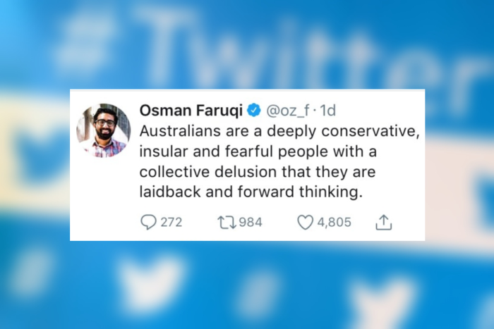 PHOTO: Osman Faruqi deleted this tweet after he was doxxed but that didn't stop the abuse.(ABC News: Twitter/David Lewis)