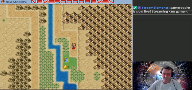 Image: Screenshot of Rev. Will Nicholas (inset) working through the video game Jesus Christ RPG on Twitch.