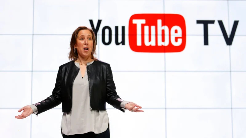 YouTube CEO Susan Wojicki speaks during the introduction of YouTube TV in Los Angeles in 2017. CREDIT:AP