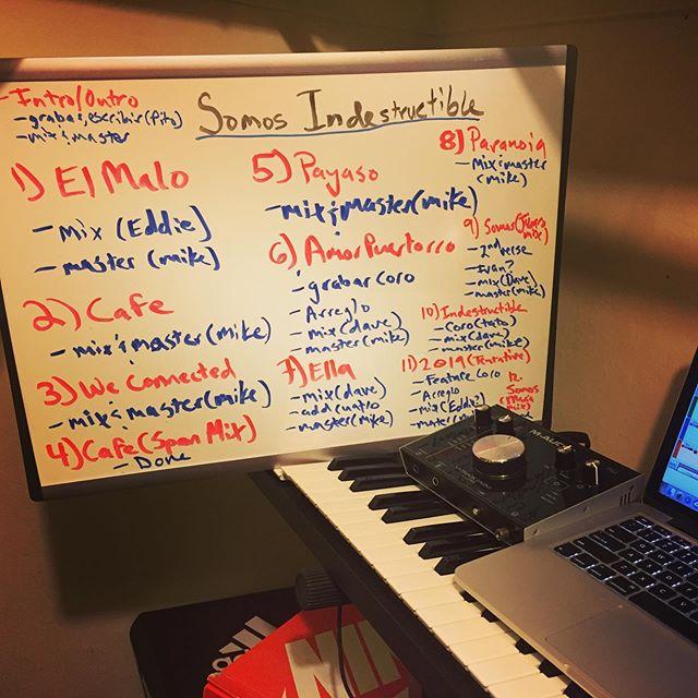 Planning out whats needed to finish the album..we getting there.  Organizando lo que me hace falta pa terminar el album!  Estamos llegando!  #robramo #caligente #hiphop #rap #bomba #plena #caribe #california #boricua #musicproducer