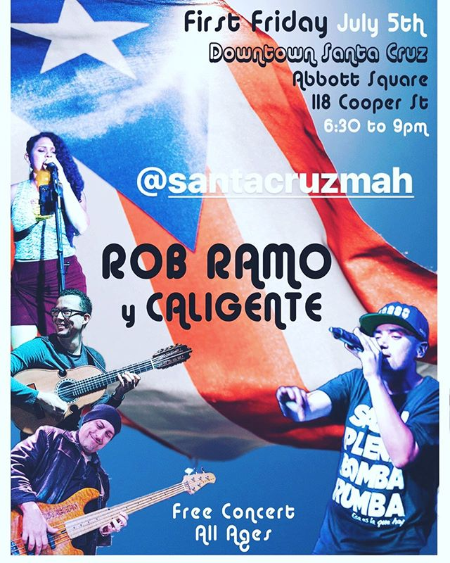 This friday July 5th in dowtown Santa Cruz!  Come check out Rob Ramo y Caligente.  Free concert all ages at @abbottsquare ! No se lo pierden este viernes en Santa Cruz concierto gratis!  #santacruz #firstfriday #liveband #music #california #caligente #salsa #hiphop