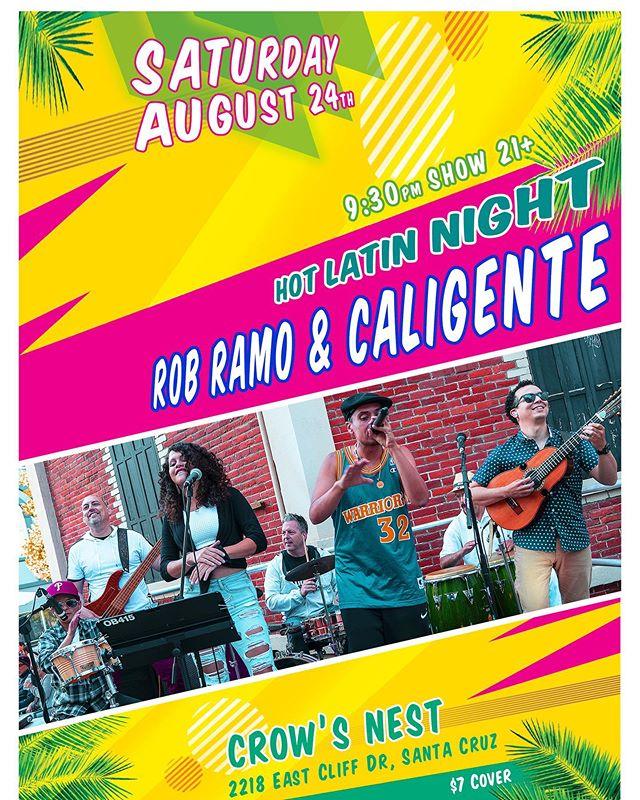 A week from today Saturday August 24th!  Come close out the summer with Rob Ramo y Caligente in Santa Cruz!  #caligente #boricua #santacruz #hiphop #salsa #bomba #plena #playa