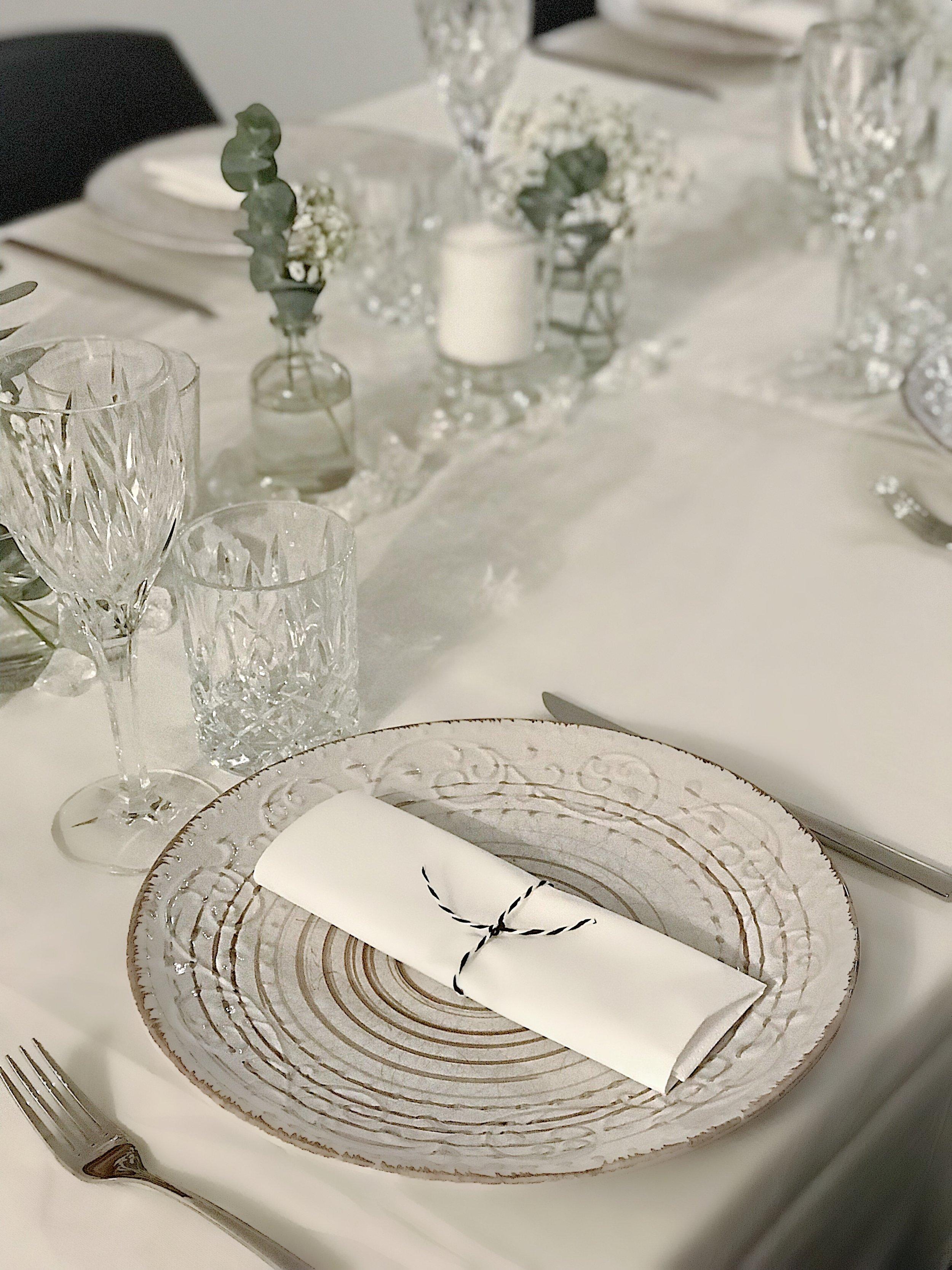 White decor and eucalyptus and white flowers