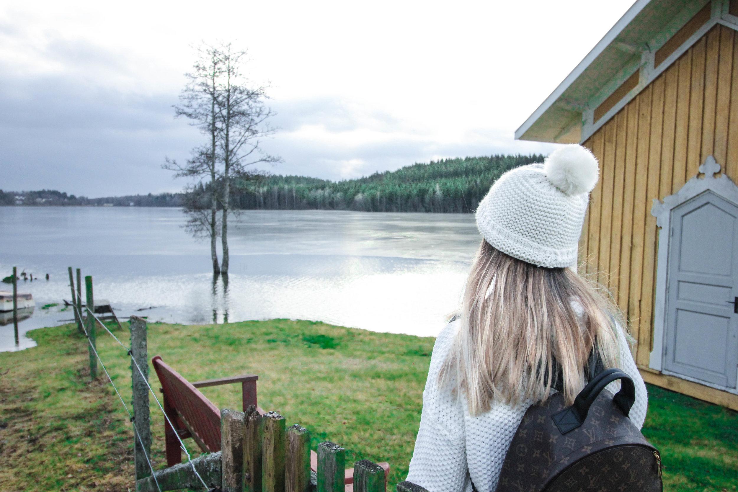 Overlooking the beautiful lake