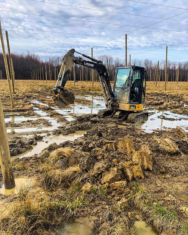 We've been running drainage tile at Matić Farms all week... if it doesn't work we will convert the field into a large pig pen. 👌🏻 . . #entrepreneurship #hops #craftbeer #croatia #beer #drainage #excavator  #ohiobeer