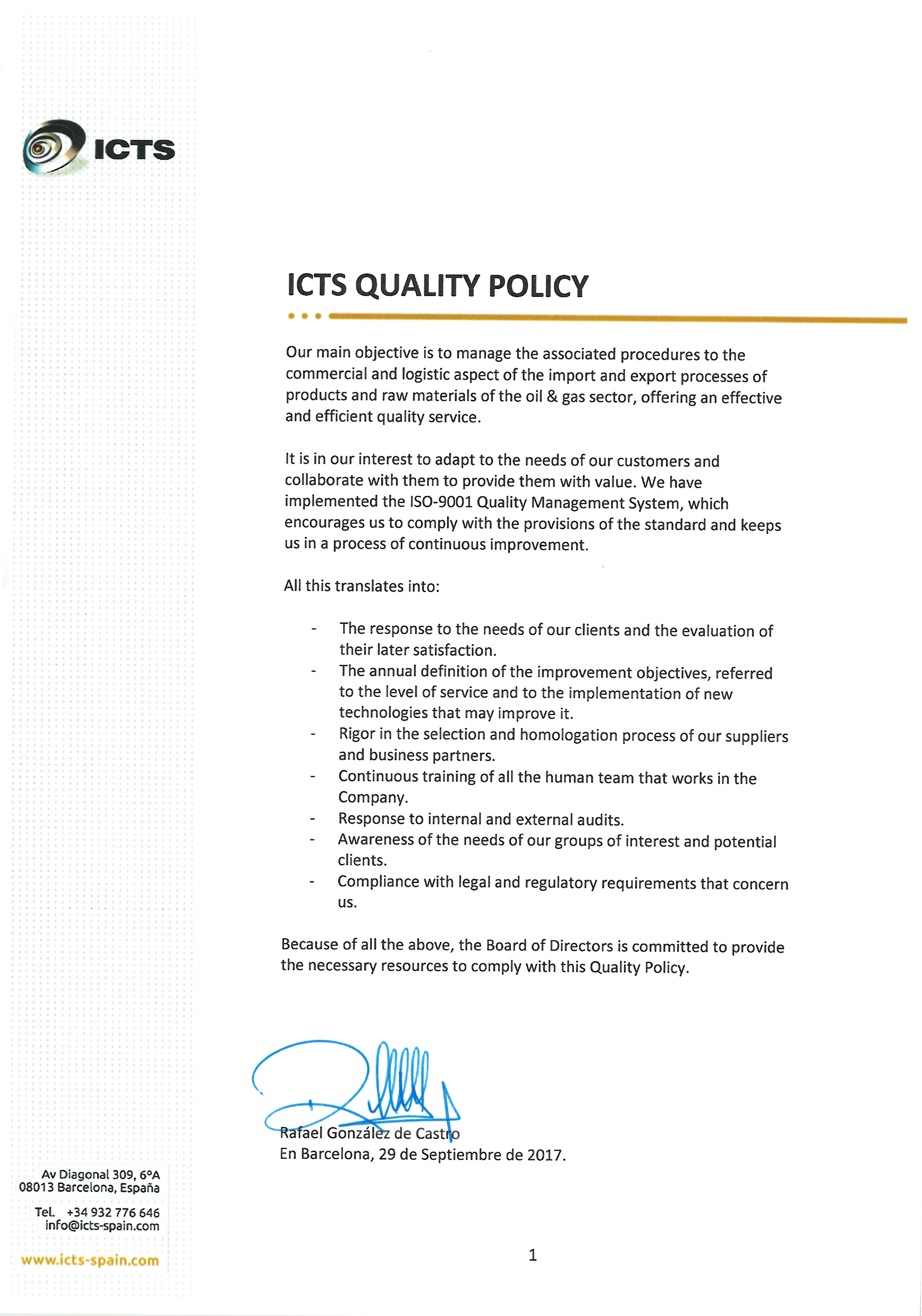 Policies of Quality