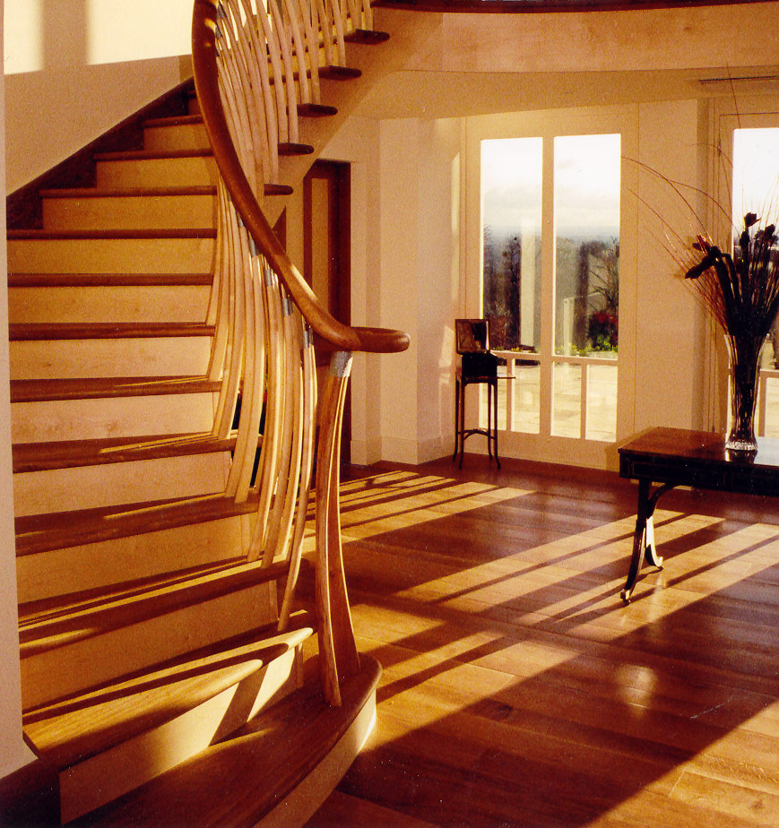 Contemporary staircase and doors in sycamore and oak, private house, London