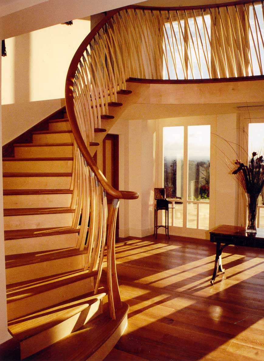 Contemporary staircase in sycamore and oak, private house, London.