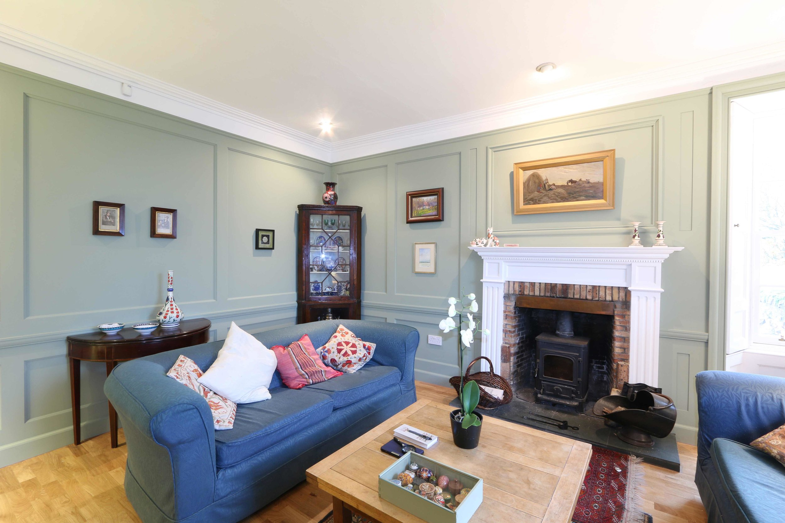 Panelling scheme in a farmhouse drawing room.