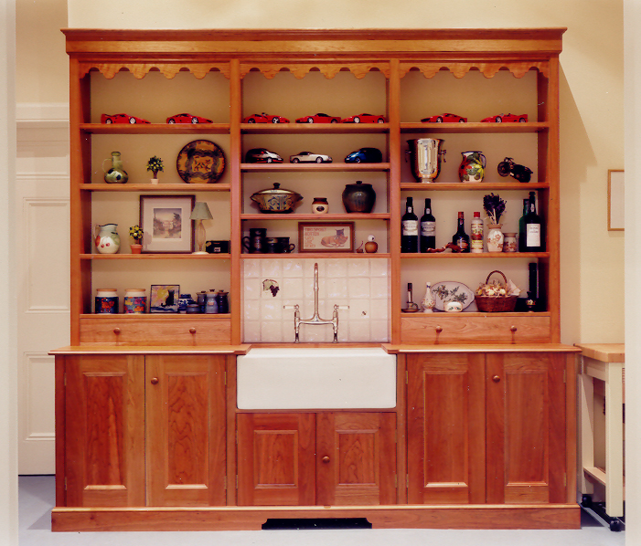 Welsh dresser style kitchen unit with Belfast sink in yellow pine, Midlothian.