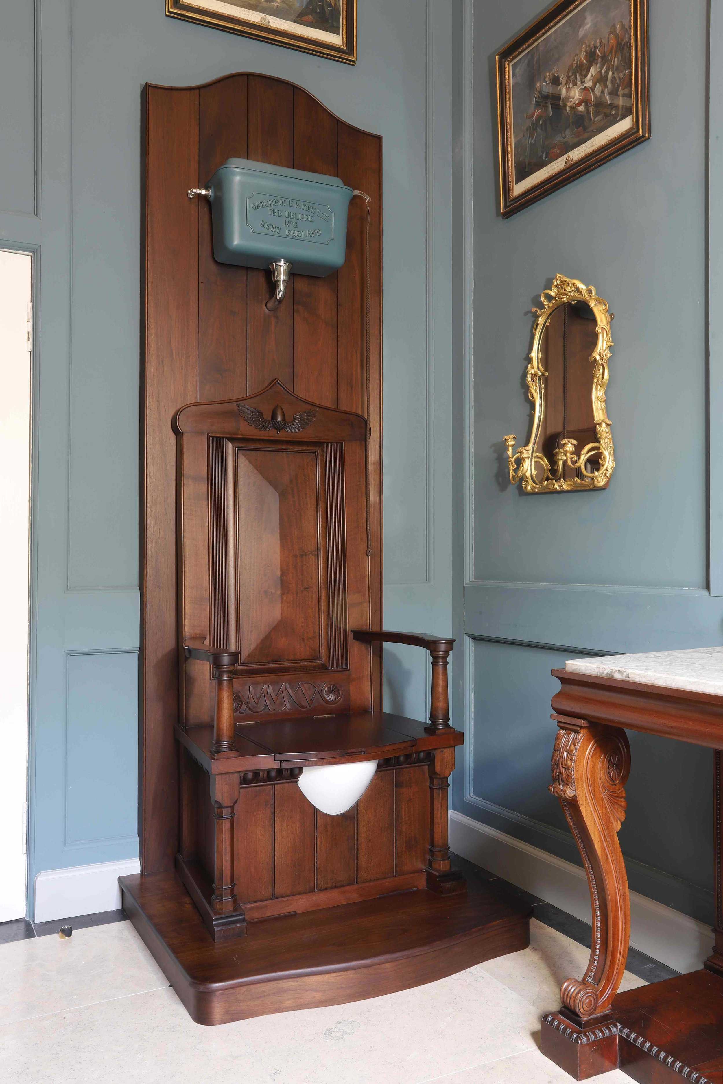 Throne toilet on Dais platform with carved detailing, Marchmont House.