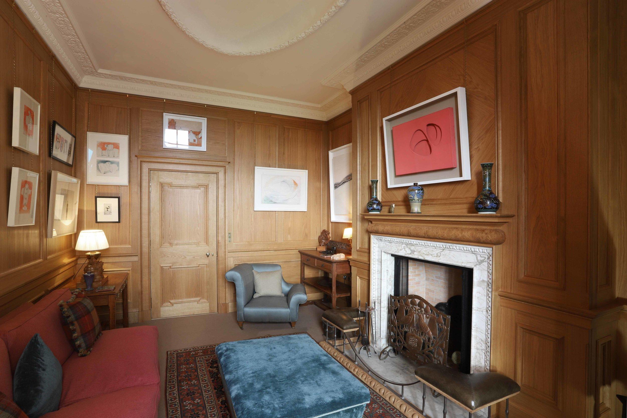 Oak panelled snug, private house, borders.