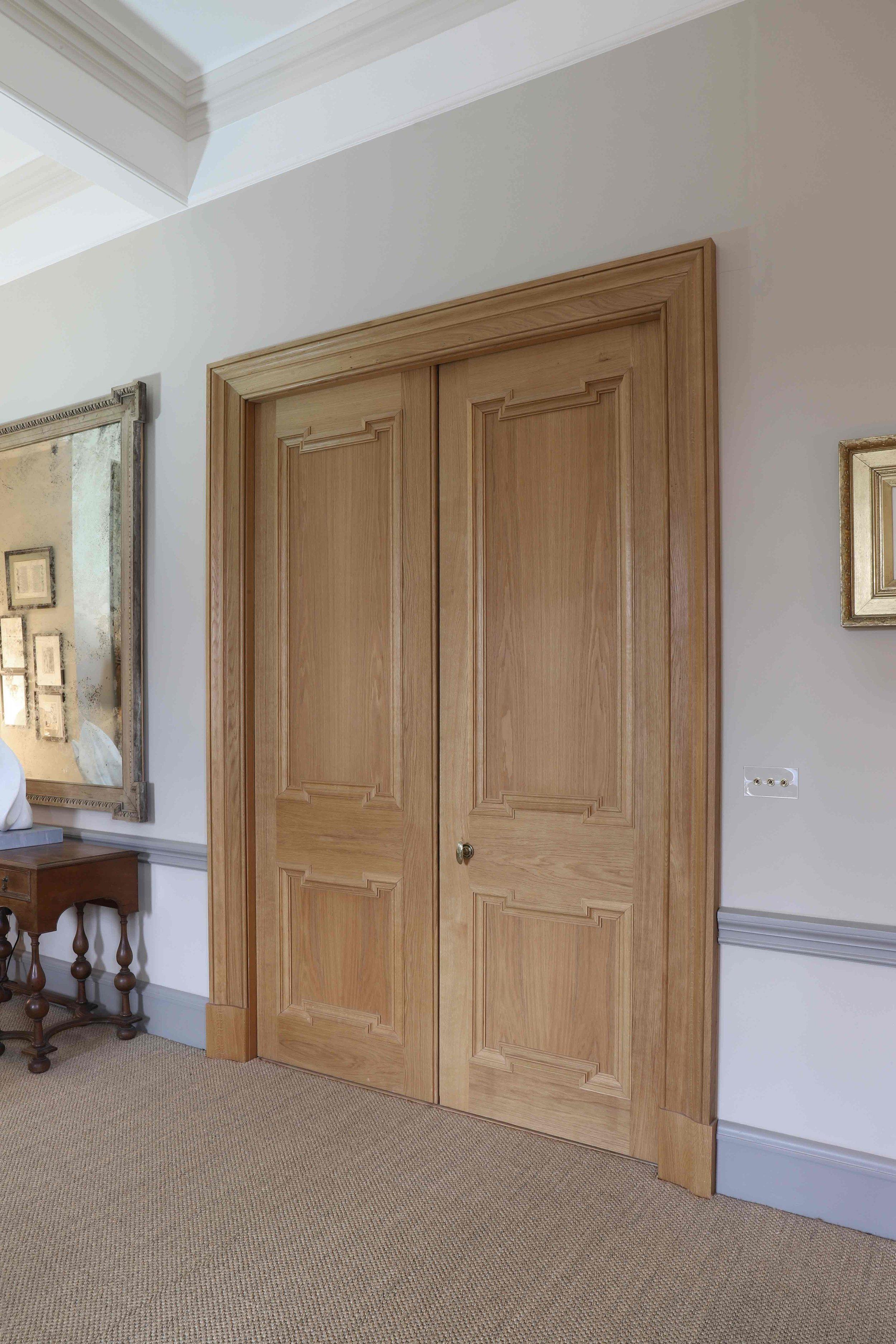 Oiled oak bedroom double doors, Marchmont House, Greenlaw.