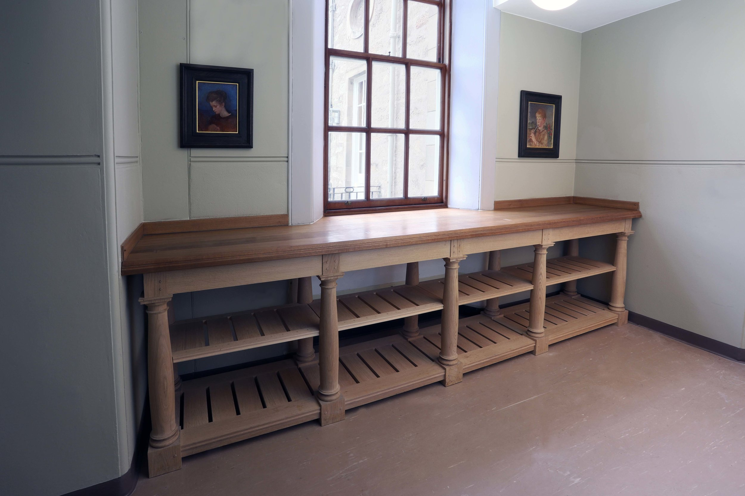 Bespoke kitchen gallery counters, Marchmont House.