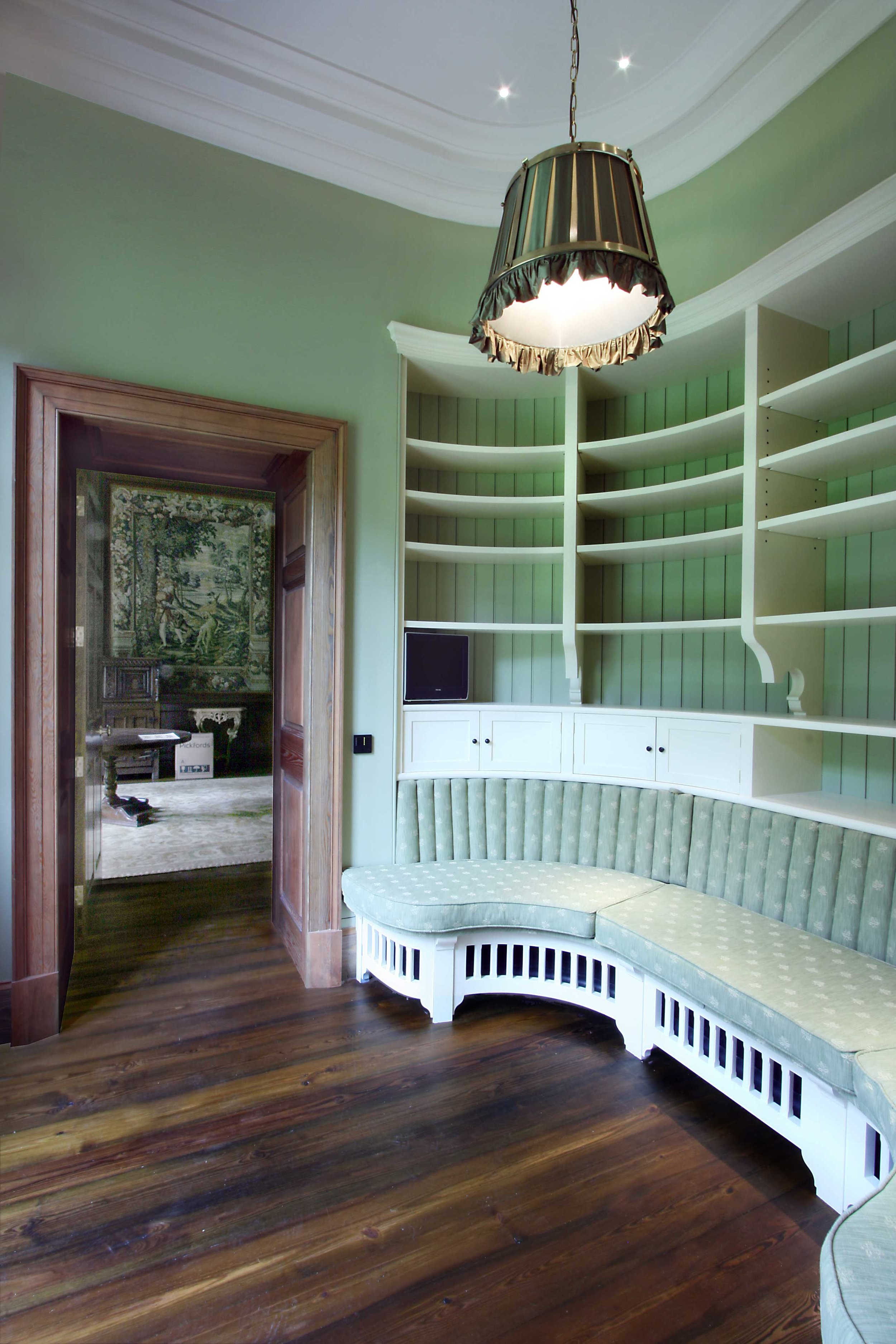 Bespoke seating and shelving unit, Eilean Aigas House.