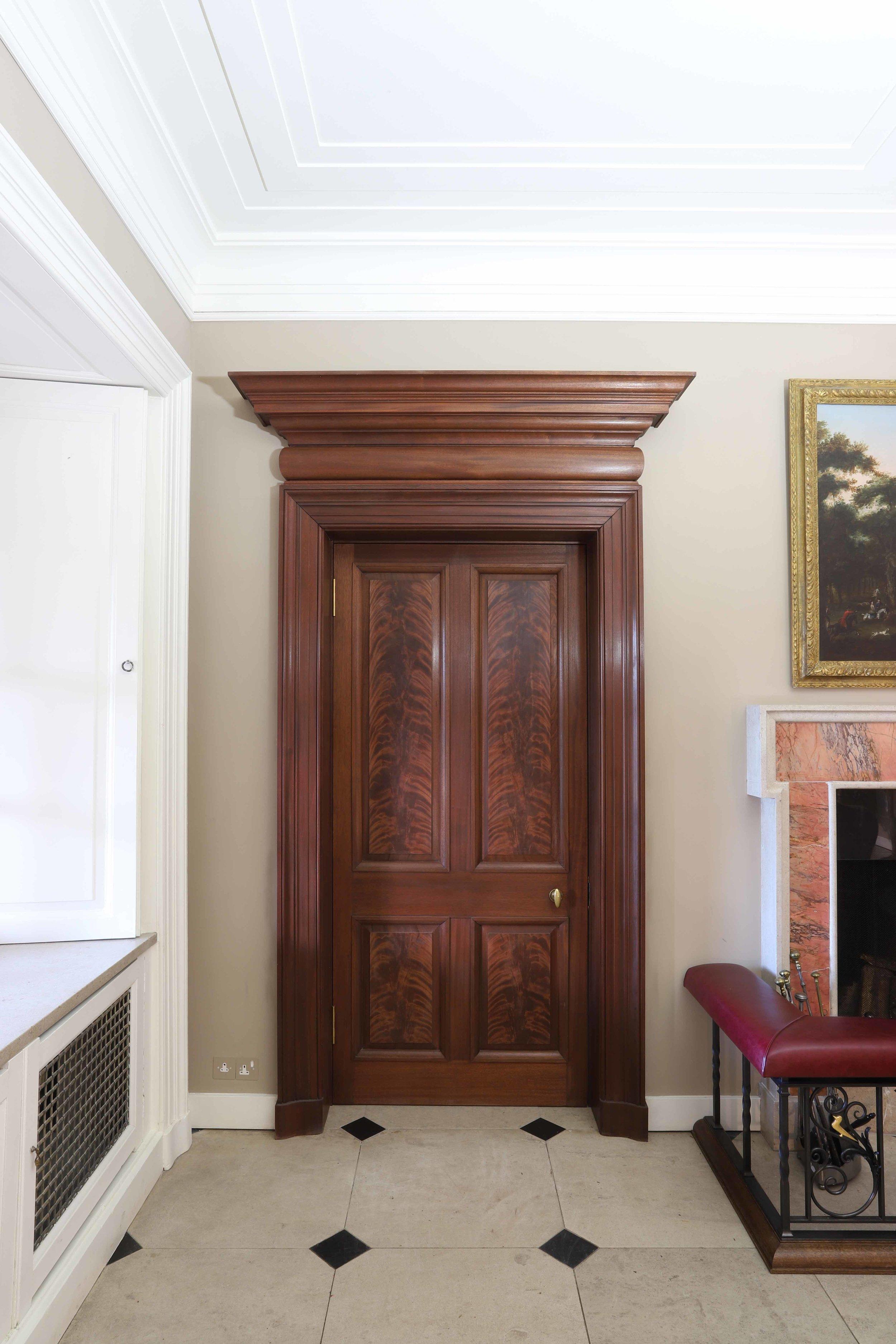Period Mahogany door set with burr veneered panels, Marchmont house, Scottish borders.