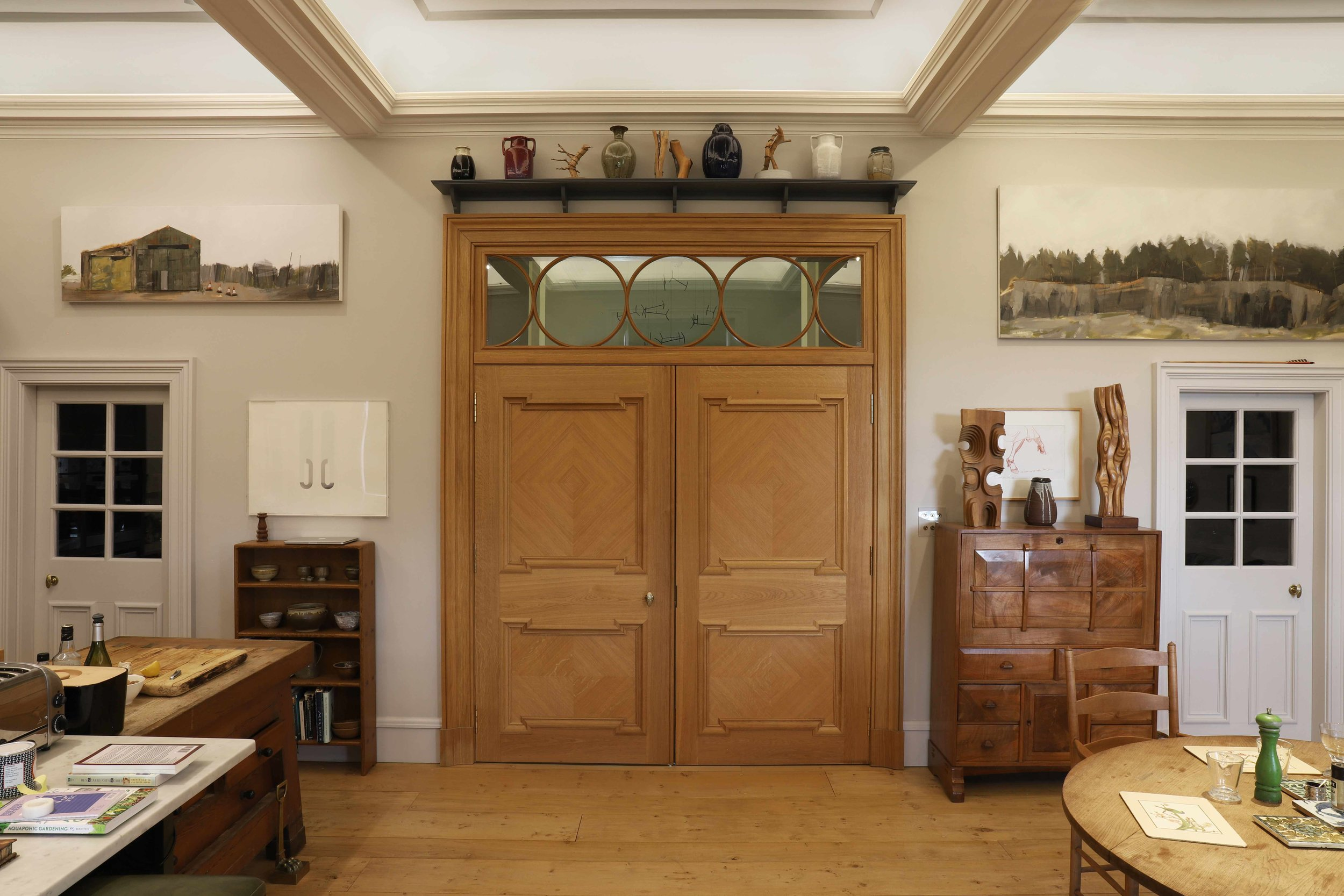 Kitchen door and fanlight scheme in oak, private house, borders.