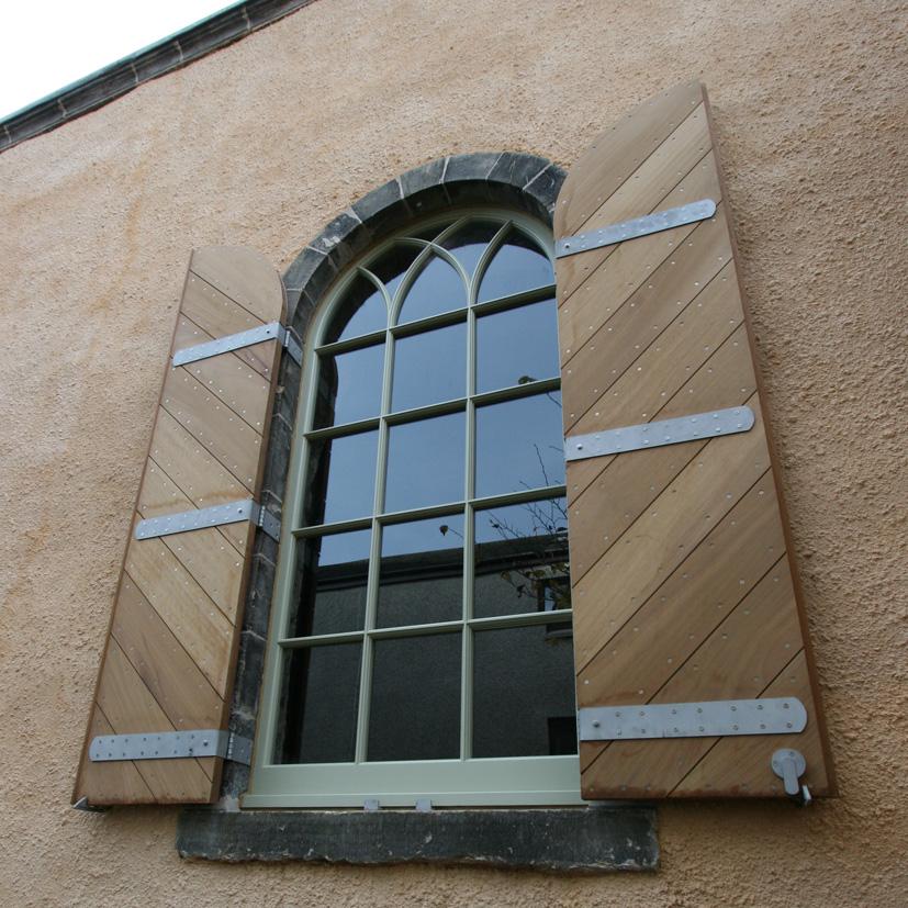 Iroko shutters and windows for Quaker Meeting House, part of University of Edinburgh.