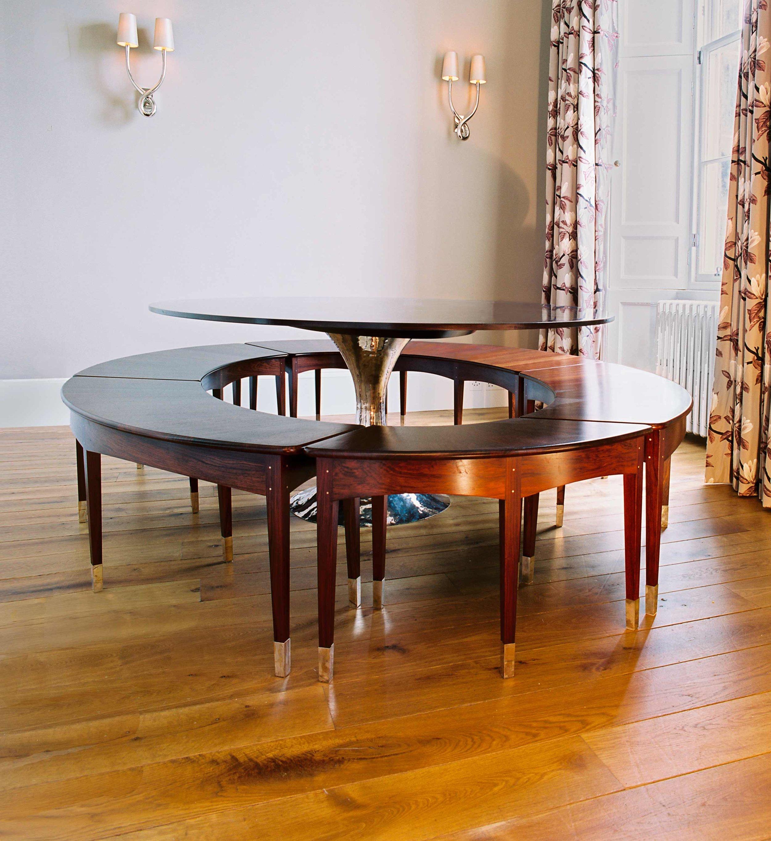 Rosewood elliptical seats and radial rosewood veneered table top, Heriot Row, Edinburgh.