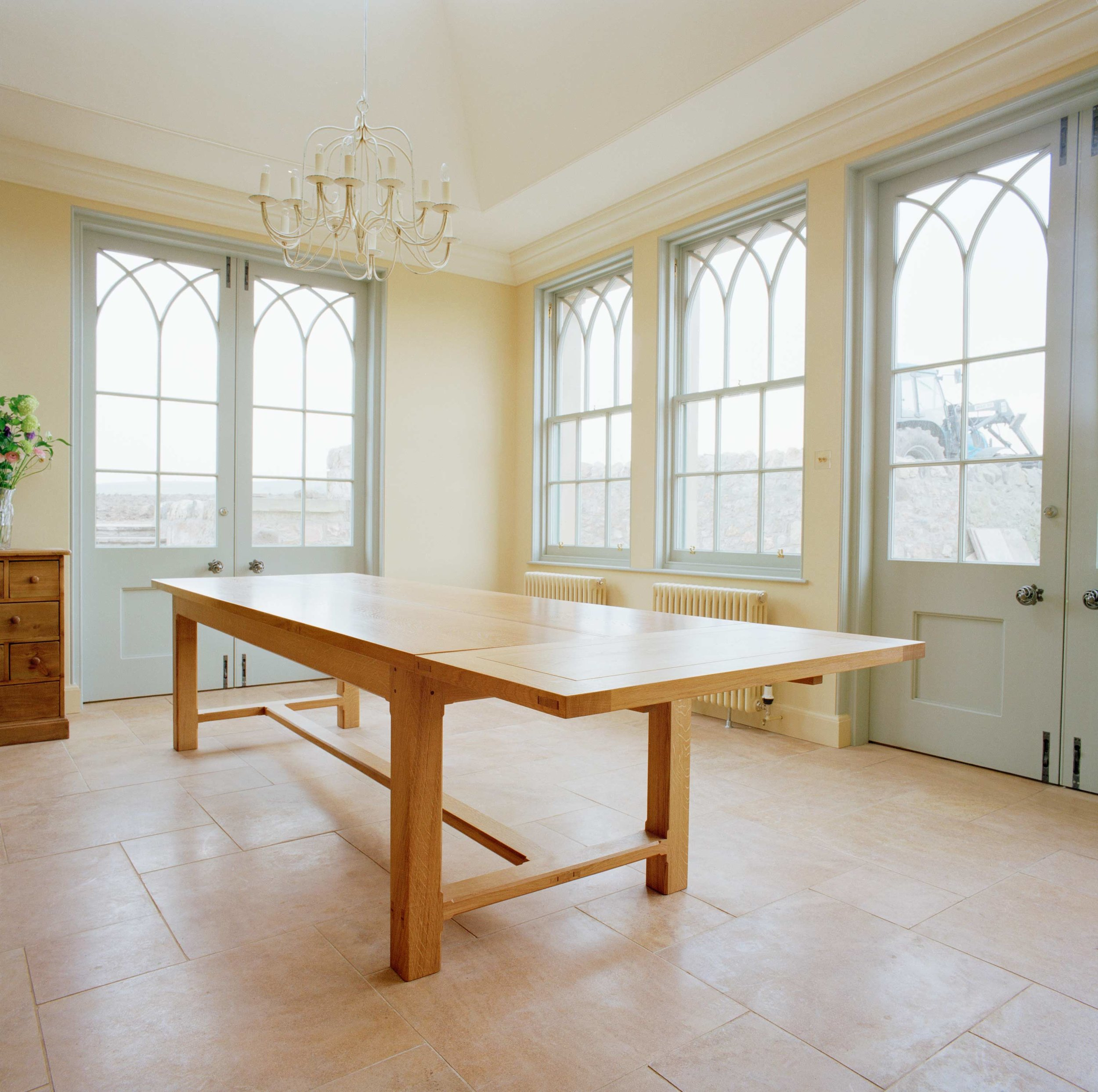 Oak Dining table, extendable to seat 14, East Lothian.