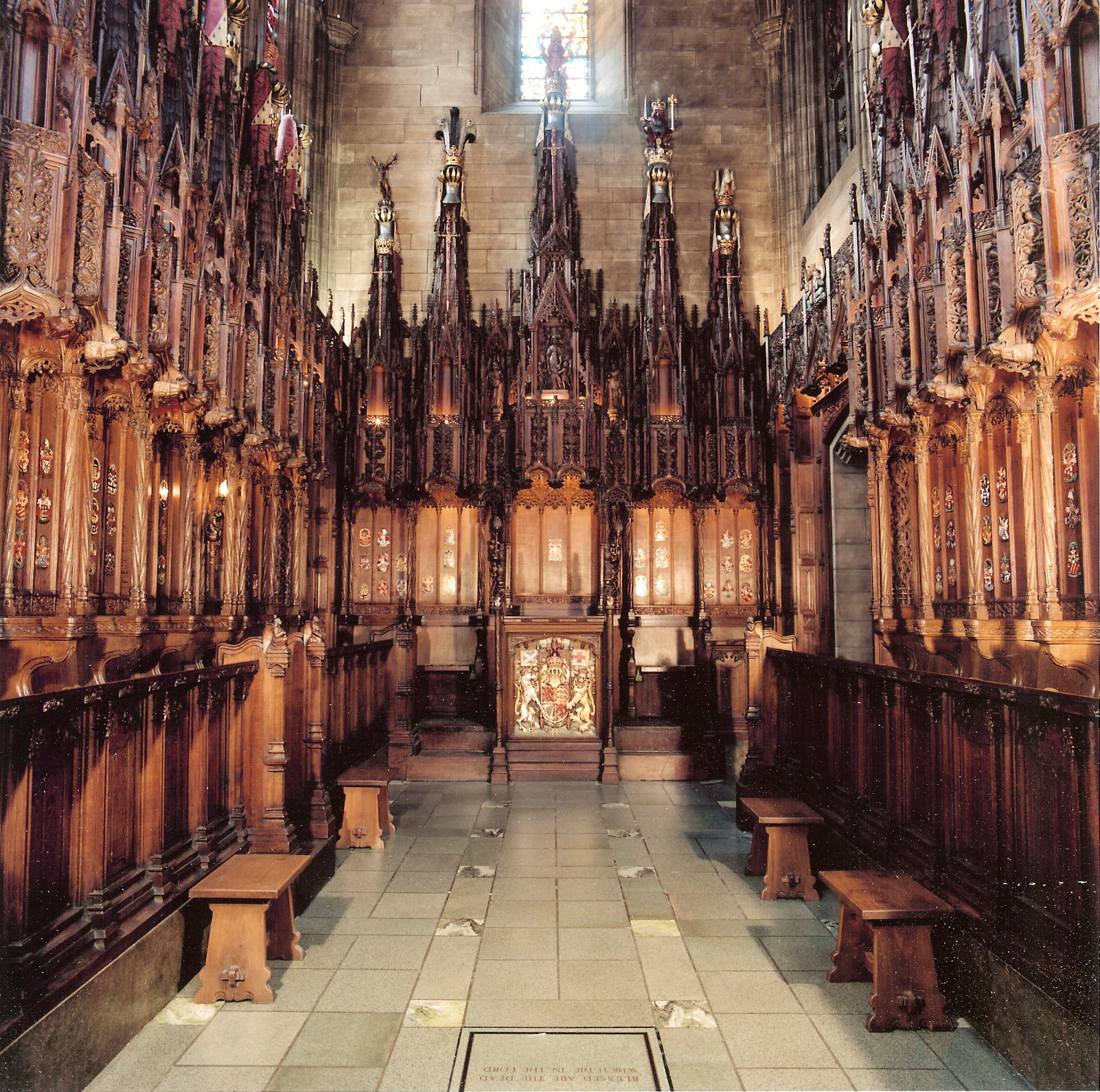 Extensive work carried out on Thistle Chapel, designed by Robert Lorimer. St Giles cathedral, Edinburgh.