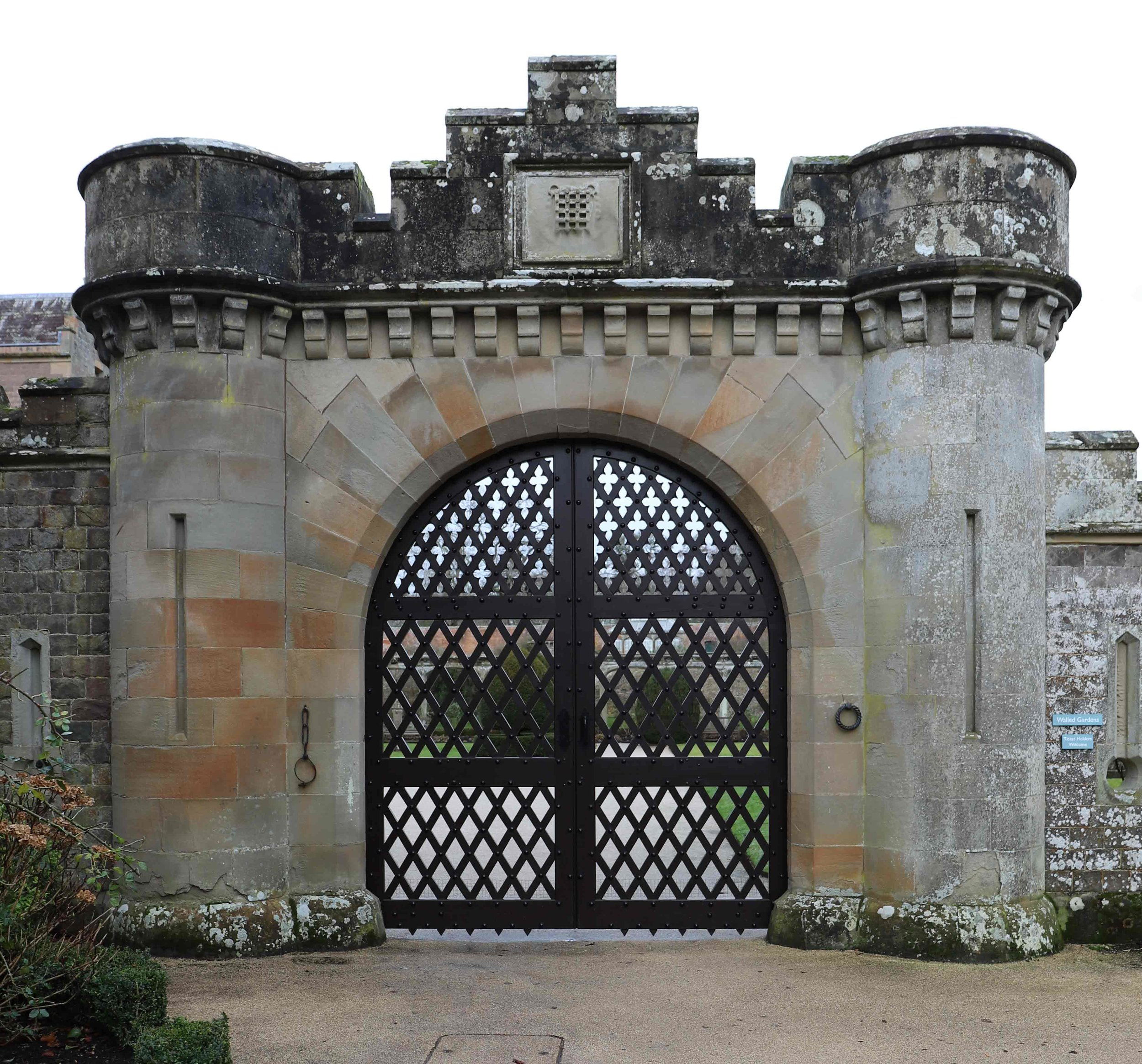 The conserved gates back in place at Abbotsford House.