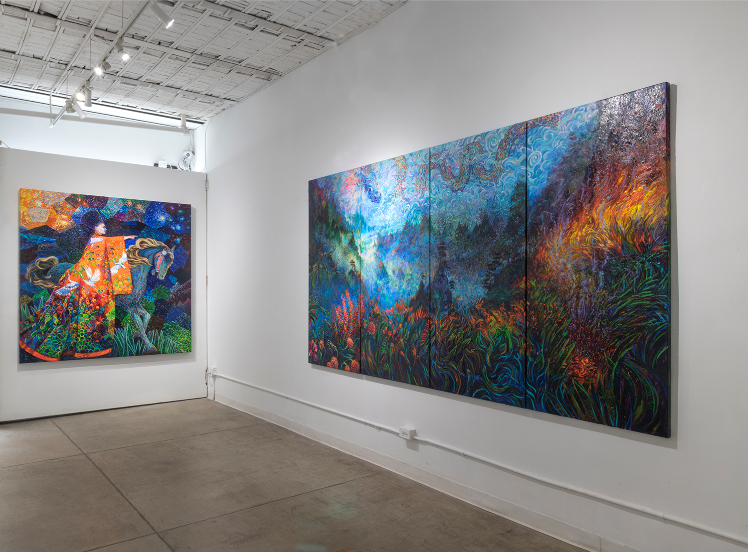 Original artworks by finger painting artist Iris Scott shown in the Filo Sofi Arts NYC gallery.png