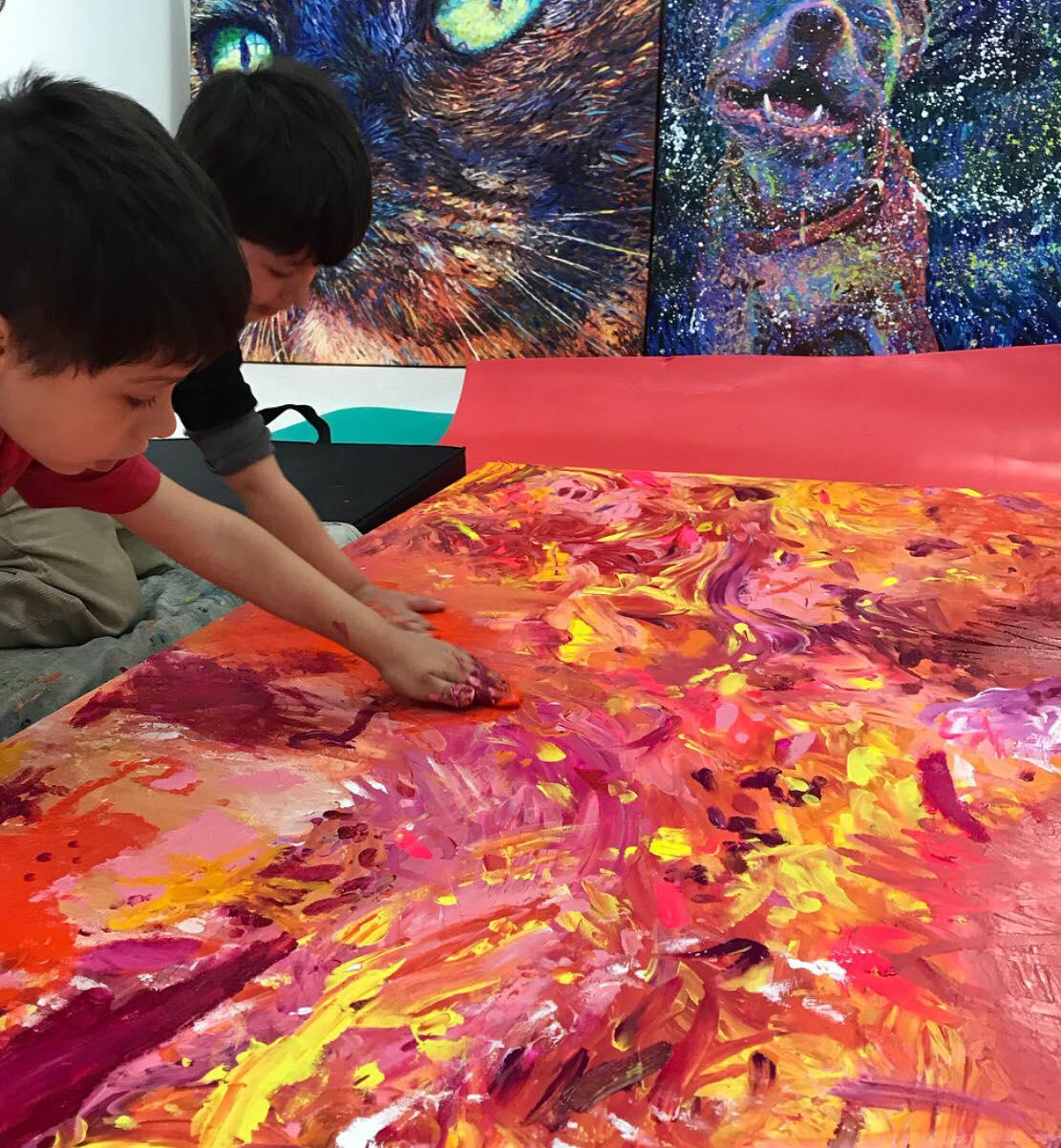 Preschool children finger painting with Iris Scott at Filo Sofi Arts Gallery.jpg