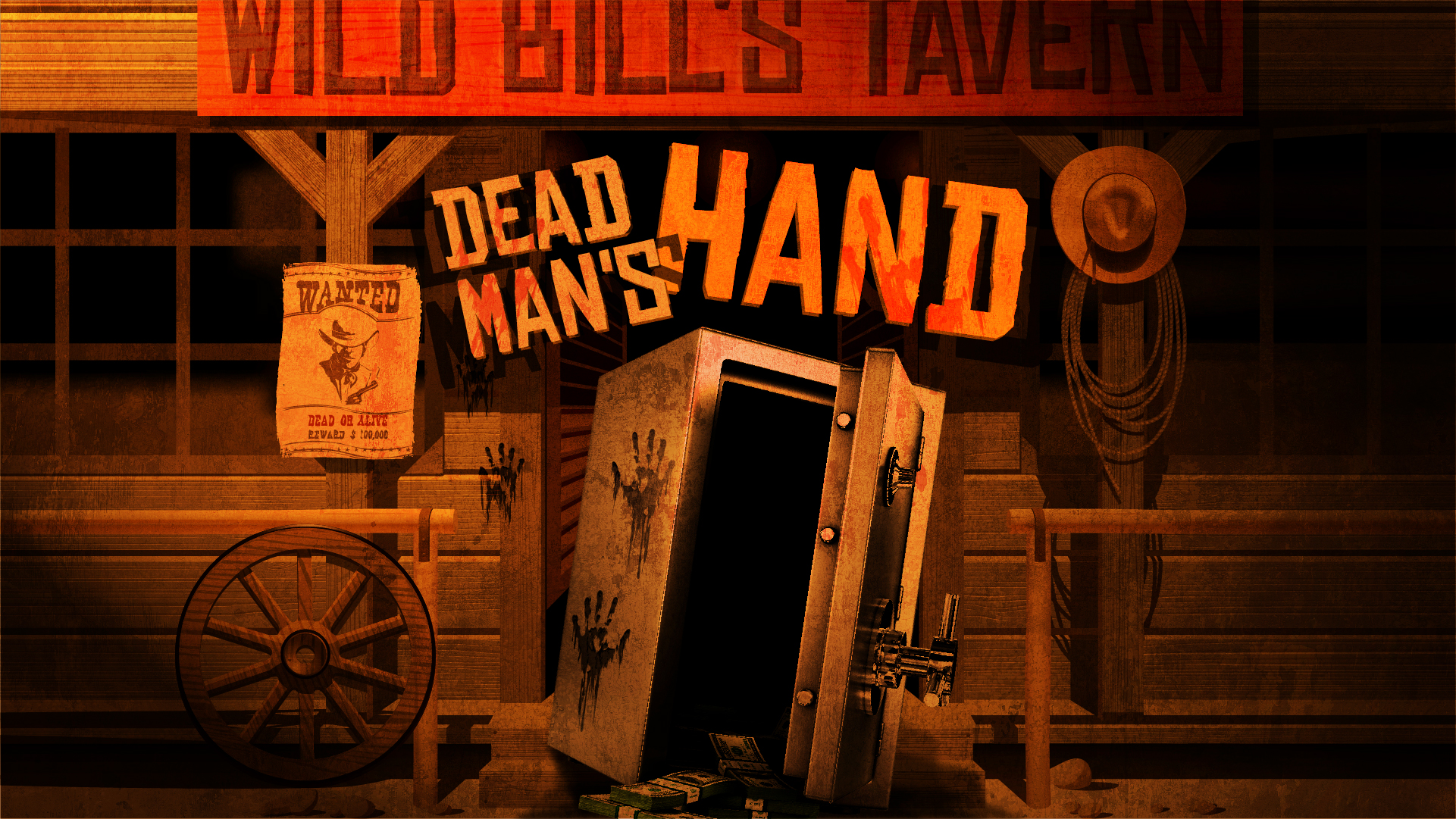 DEAD MAN'S HAND - OPEN SOON AT THE GATEYour band of outlaws have been travelling for days on route to Wild Bill's Tavern. Stories tell of a great treasure held in the Tavern's safe. You've sent a couple of your band to distract the Sheriff but they have bought you little more than an hour to get into the safe and retrieve the Dead Man's Hand!