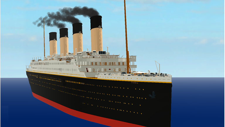 This is the Titanic on the water, before it sank.