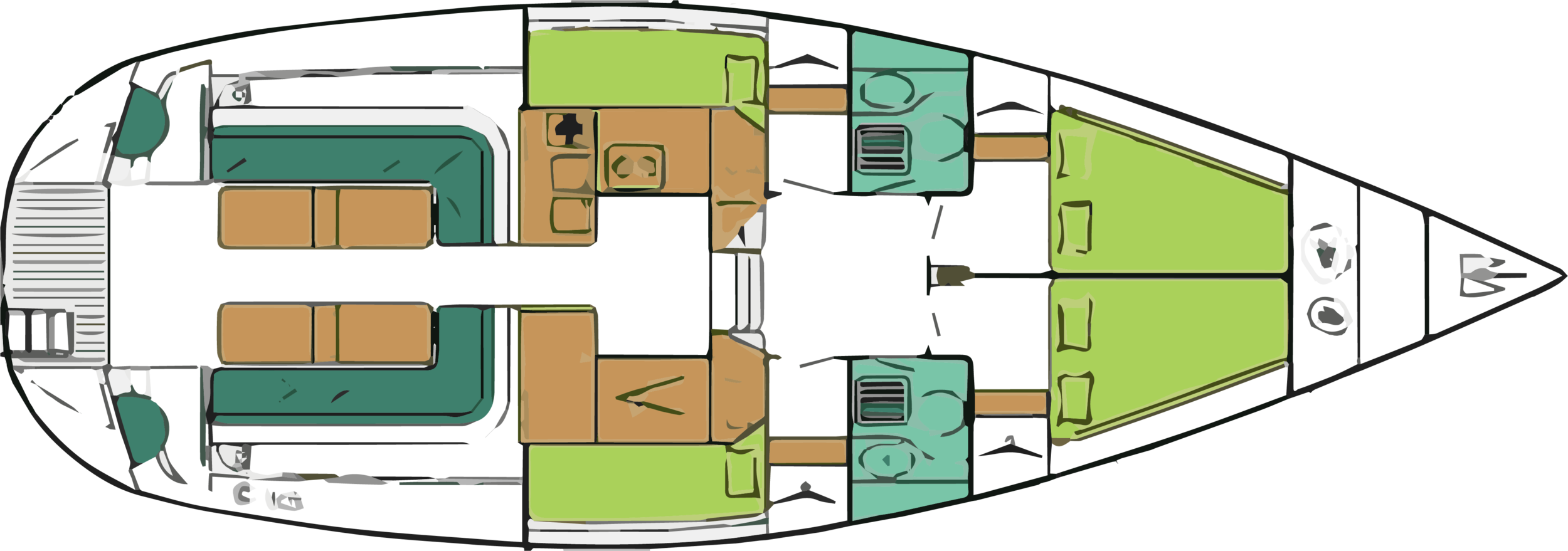 - catégorie de conception A; catégorie de navigation 1; matériel de construction : polyester monolithique; type d'appendice : quillard; longueur de coque : 13.10 m; largeur de coque : 4.64 m; tirant d'eau : 1.60 m; voilure 88 m2; type de transmission : moteur en ligne d'arbre, moteur diesel de 62 cv; capacité de fuel : 450 l; capacité d'eau 1000 l; 4 cabines; 10 couchettes; 4 wc; 4 douches.