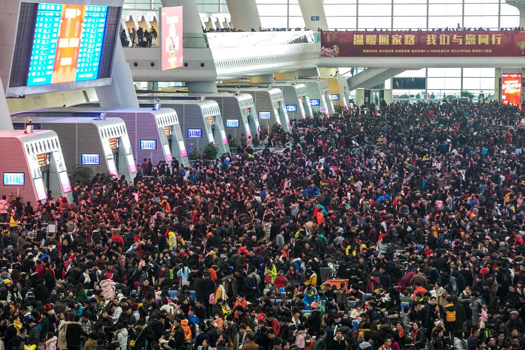 Migratie Chinees Nieuwjaar - treinstation