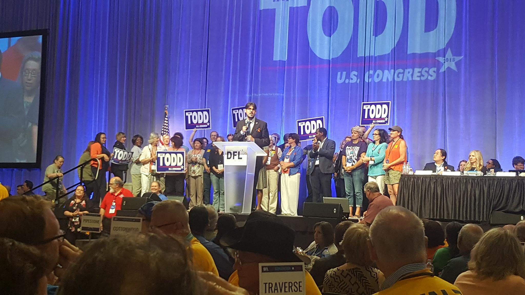 Congressional candidate Ian Todd speaking at the Minnesota democratic convention about the election in 2018.