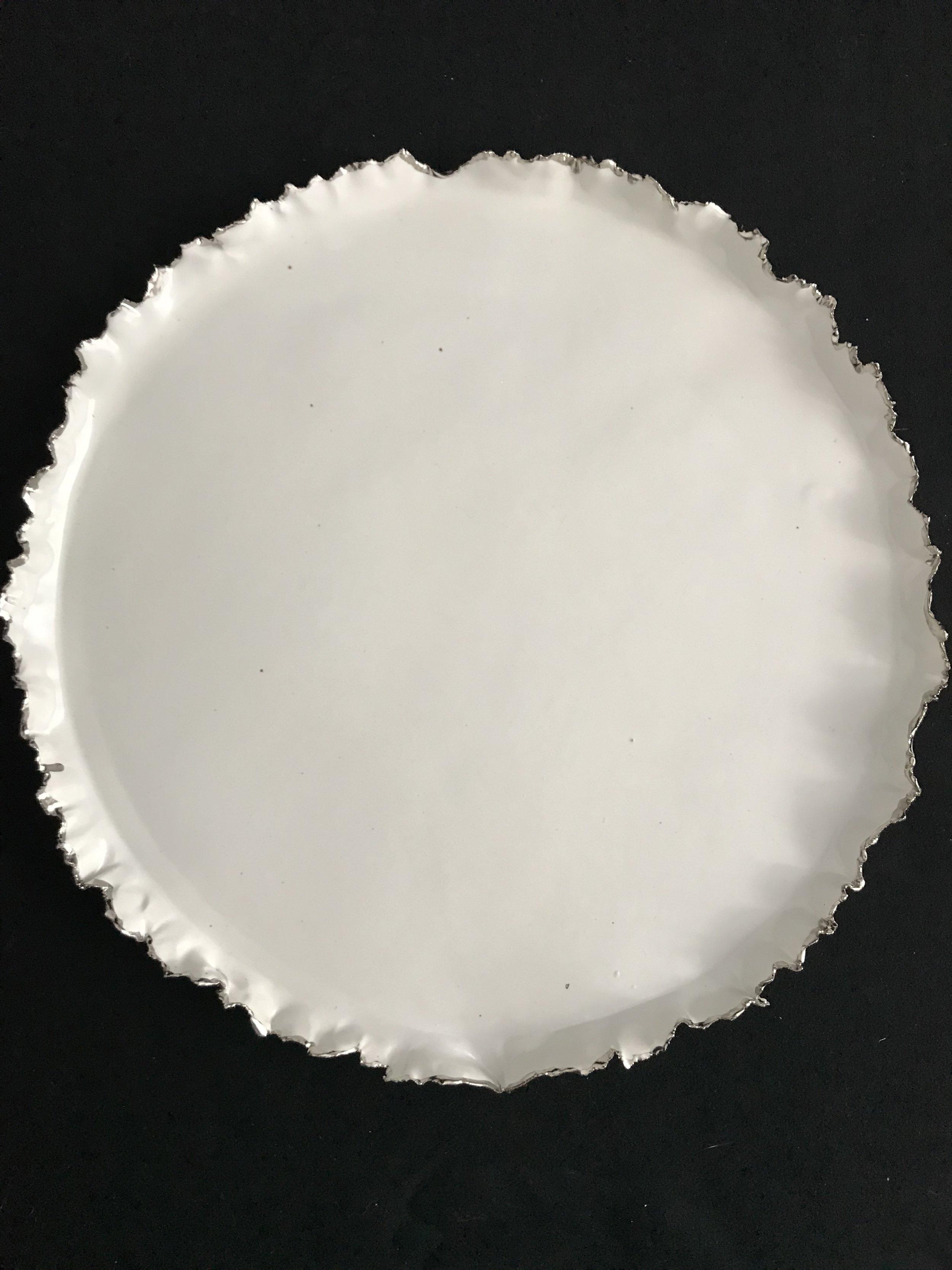"Victoria Lotus Leaf,  matte glazed porcelain with white gold on rim, 1""x12.75""diameter, 2017  $300"