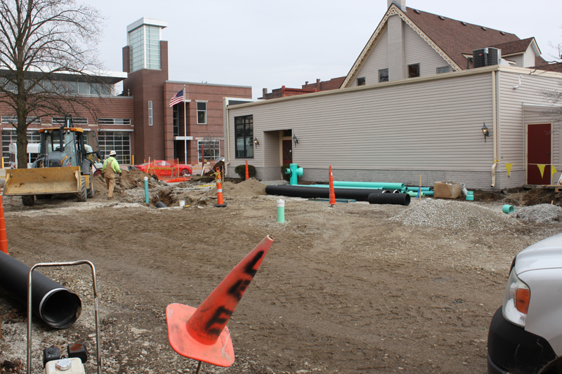 Construction is underway for the library's community plaza! They are currently working on the infrastructure for the fountain.