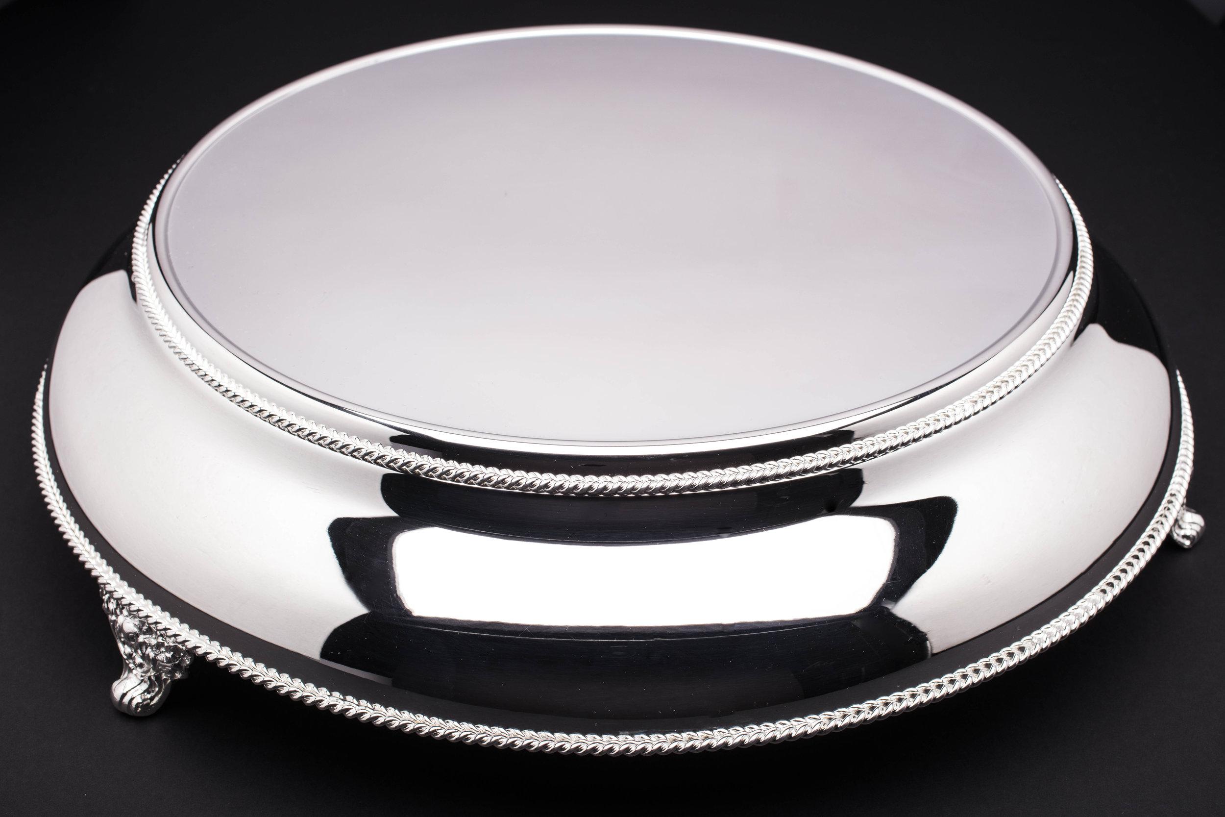 "Polished Silver Cake Display - 14""/15.5""/18"""