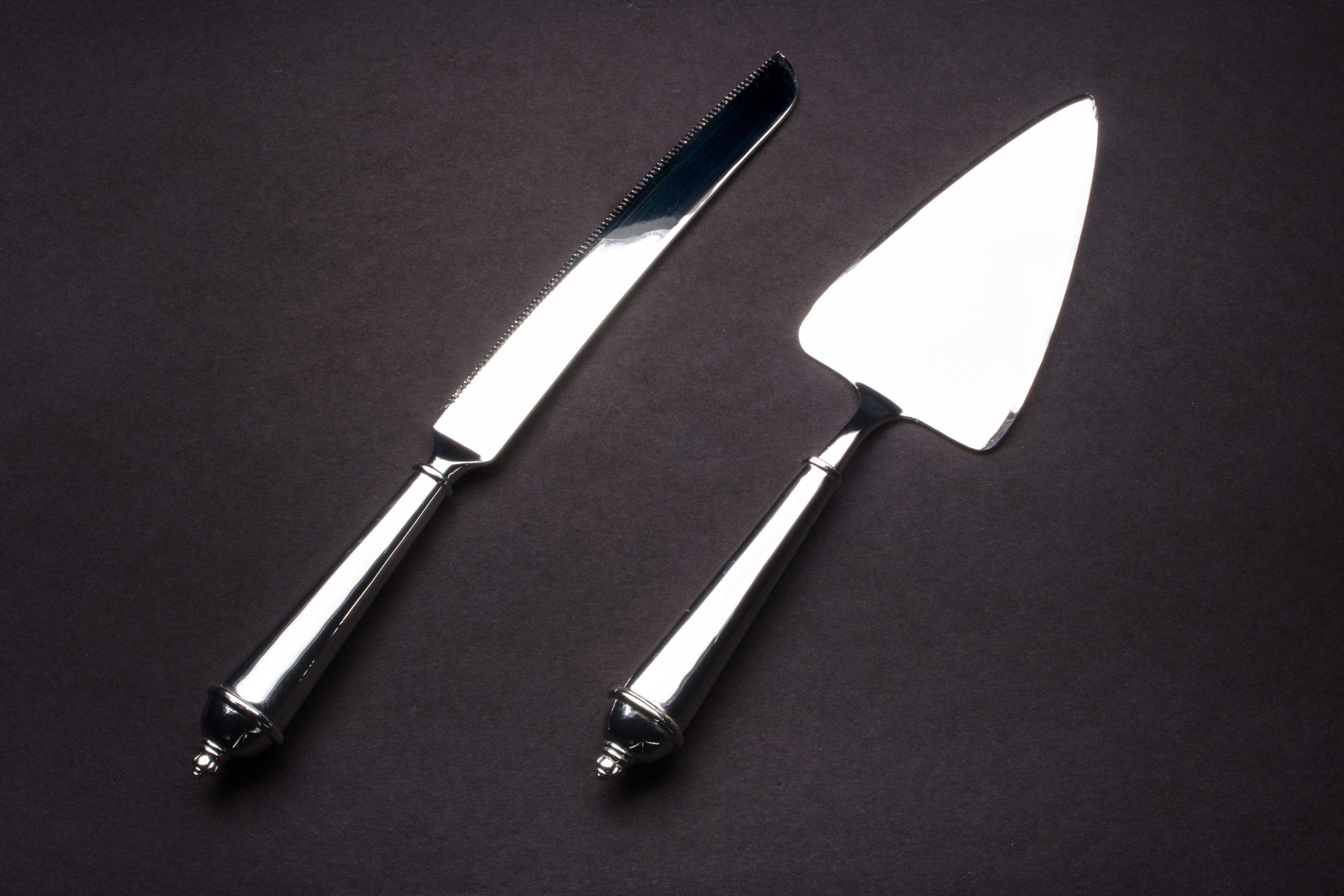 Silver Polished Cake Lifter and Knife