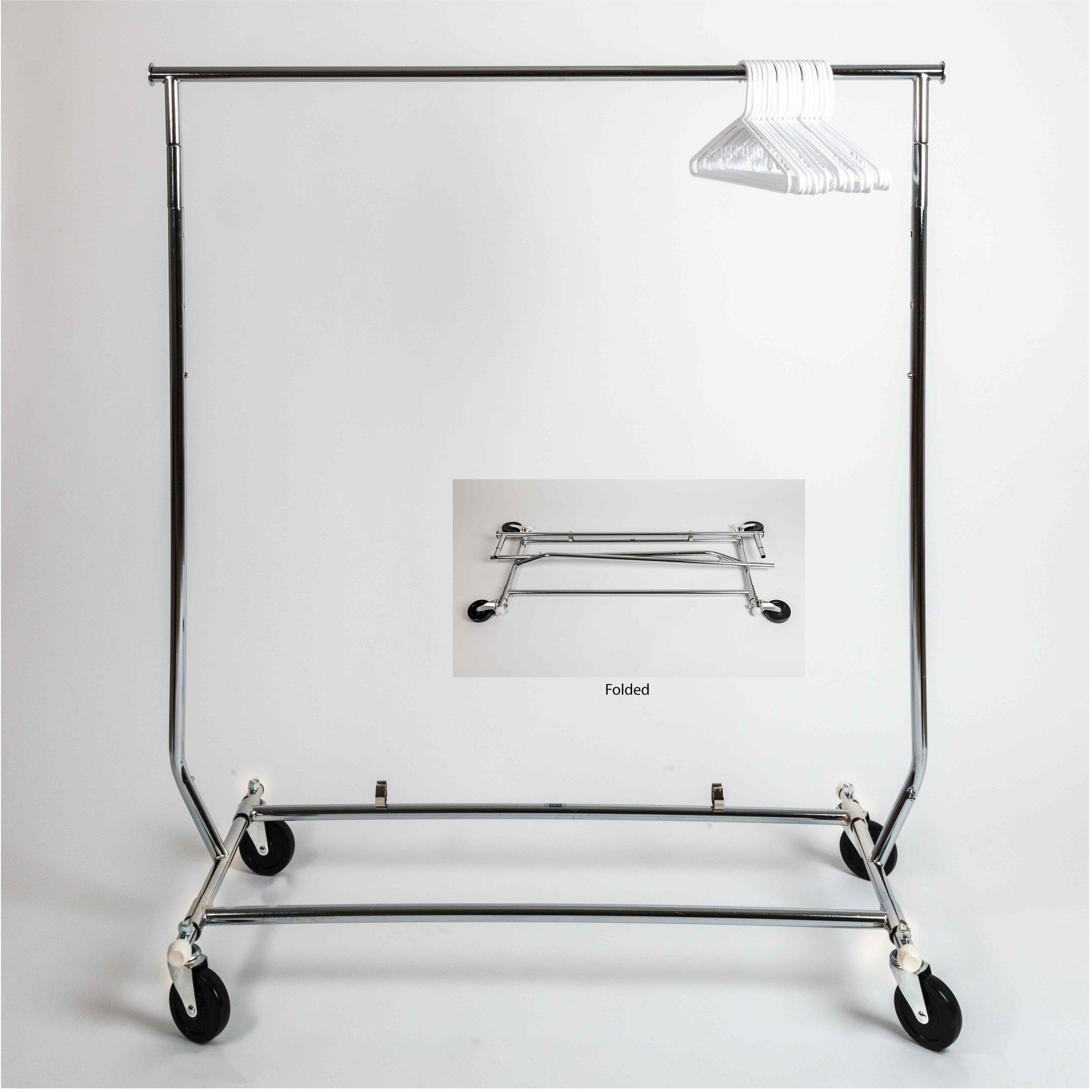 Fold-Flat Clothes Rack w/hangers