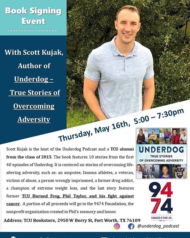 "I'm having a book signing event at TCU Bookstore on Thursday, May 16, from 5pm-730pm. A portion of all proceeds will be donated to the @9474foundation which was just formed in honor and memory of Phil Taylor. Phil lived 9,474 days on earth and each day he lived to care more for others than himself. The foundation will support Christian education and young adults battling cancer. You can join the public ""Book Signing Event at TCU Bookstore to Support 9474 Foundation"" on Facebook. Please share with friends, and come out and support the book and 9474. - - For all my friends living on the other side of the metroplex in Dallas, I have another book signing event in Dallas on May 19 at Half Price Books. Message me for details. See y'all there! #gofrogs #tcu #author #booksigning #dfw #underdog #adversity"