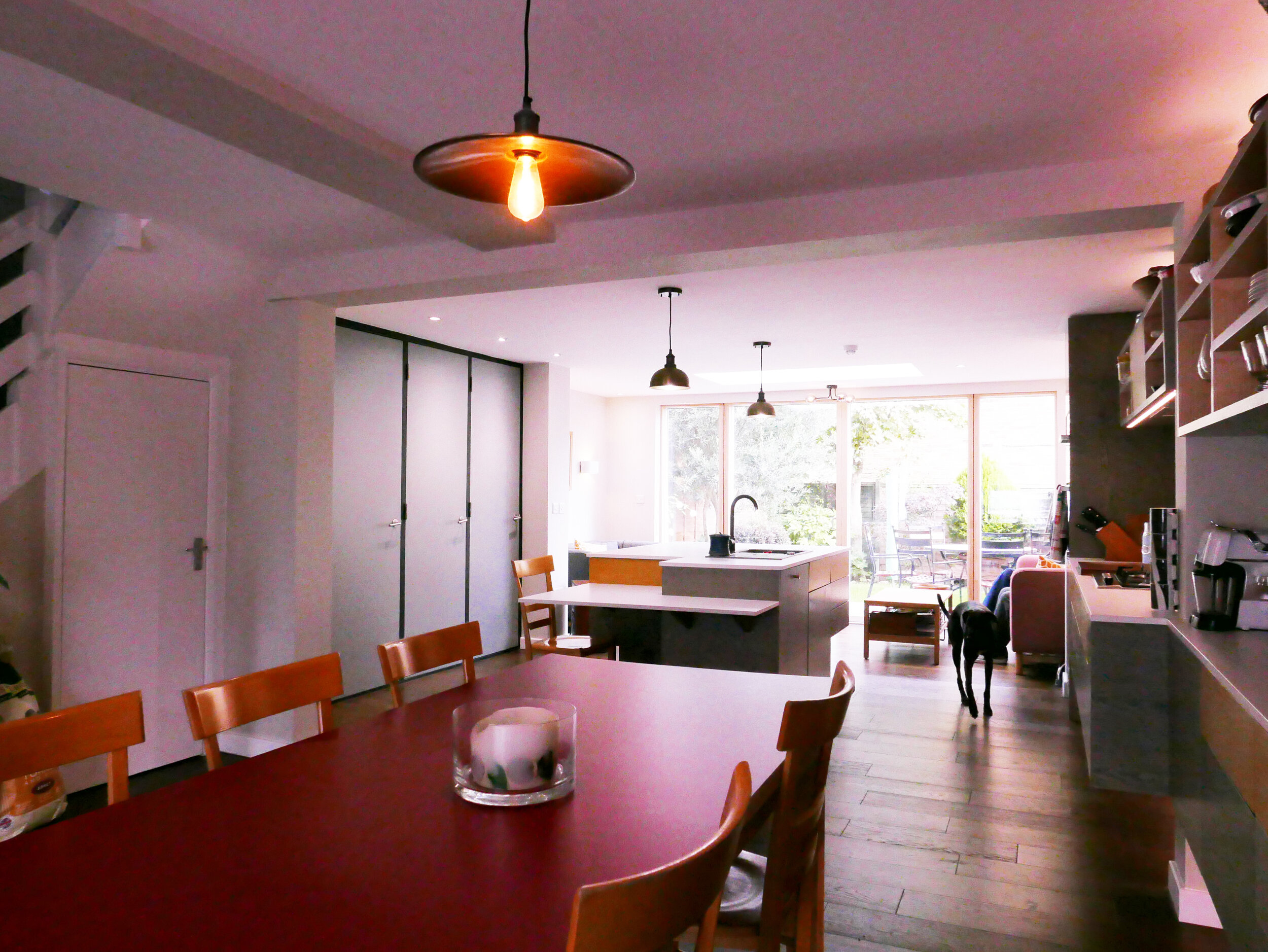 Upcycled Table Kitchen-Dining-Living Space South Woodford Architect and Design
